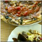 champignon-eierpfannkuchen-zwiebelsauce-salsa-kimchi