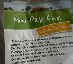 Pak-choi in Verpackung