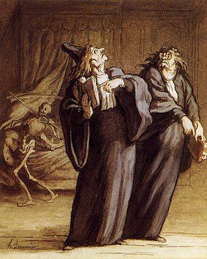 Daumier - zwei Ärzte und der Tod