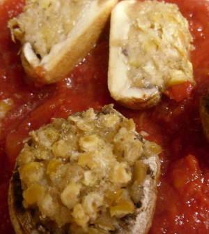Champignons, Linsen-Käse-Füllung, Detail